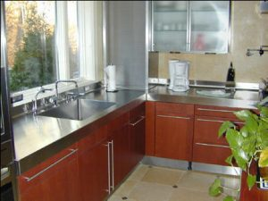 Silver Star Metal Fabricating Inc. - stainless steel countertop on cherry